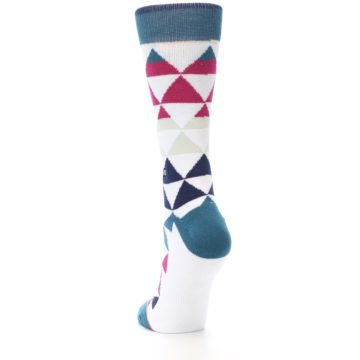 Image of White Pink Blue Triangles Women's Casual Sock (side-2-back-16)