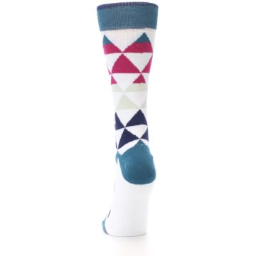 Image of White Pink Blue Triangles Women's Casual Sock (back-17)