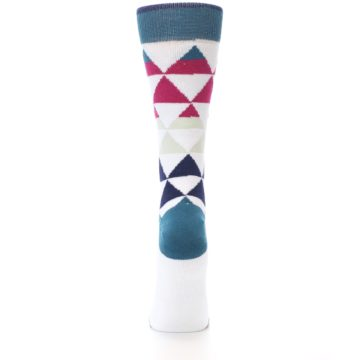 Image of White Pink Blue Triangles Women's Casual Sock (back-18)