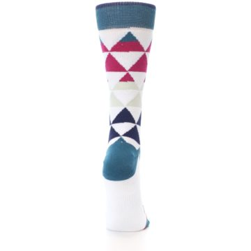 Image of White Pink Blue Triangles Women's Casual Sock (back-19)