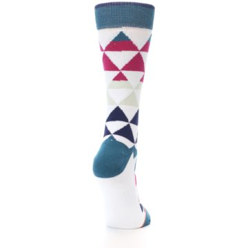 Image of White Pink Blue Triangles Women's Casual Sock (side-1-back-20)