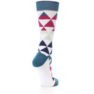 Image of White Pink Blue Triangles Women's Casual Sock (side-1-back-21)