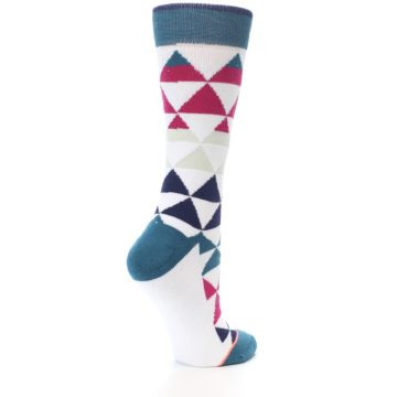 Image of White Pink Blue Triangles Women's Casual Sock (side-1-back-22)