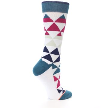 Image of White Pink Blue Triangles Women's Casual Sock (side-1-23)