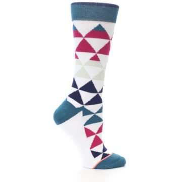 Image of White Pink Blue Triangles Women's Casual Sock (side-1-25)