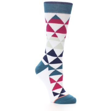 Image of White Pink Blue Triangles Women's Casual Sock (side-1-26)