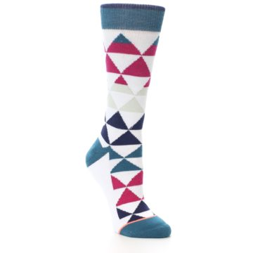 Image of White Pink Blue Triangles Women's Casual Sock (side-1-27)