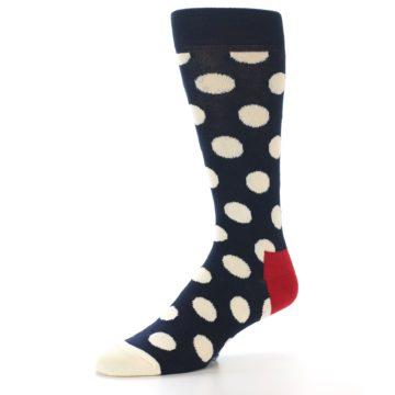 Image of Navy White Polka Dots Men's Dress Socks (side-2-09)
