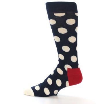 Image of Navy White Polka Dots Men's Dress Socks (side-2-12)