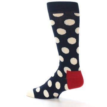 Image of Navy White Polka Dots Men's Dress Socks (side-2-13)