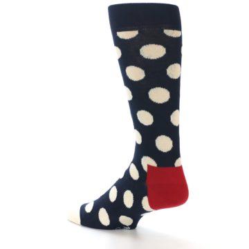 Image of Navy White Polka Dots Men's Dress Socks (side-2-back-14)