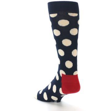 Image of Navy White Polka Dots Men's Dress Socks (side-2-back-15)