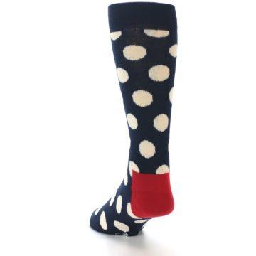 Image of Navy White Polka Dots Men's Dress Socks (side-2-back-16)