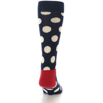 Image of Navy White Polka Dots Men's Dress Socks (back-19)