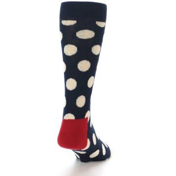 Image of Navy White Polka Dots Men's Dress Socks (side-1-back-20)