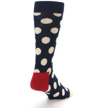 Image of Navy White Polka Dots Men's Dress Socks (side-1-back-21)