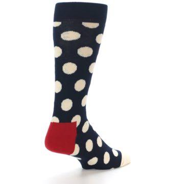 Image of Navy White Polka Dots Men's Dress Socks (side-1-back-22)