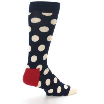 Image of Navy White Polka Dots Men's Dress Socks (side-1-23)