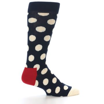 Image of Navy White Polka Dots Men's Dress Socks (side-1-24)