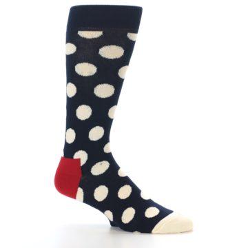 Image of Navy White Polka Dots Men's Dress Socks (side-1-25)