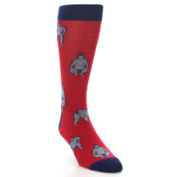 Image of Red Grey Sumo Wrestler Men's Dress Socks (side-1-front-02)
