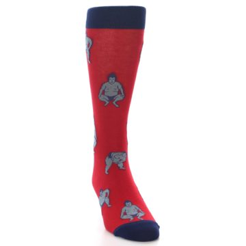 Image of Red Grey Sumo Wrestler Men's Dress Socks (side-1-front-03)