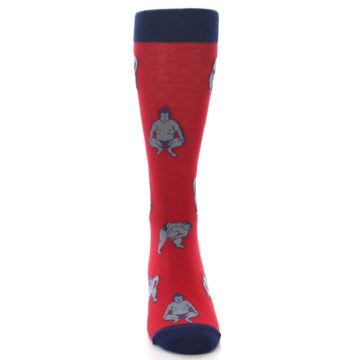 Image of Red Grey Sumo Wrestler Men's Dress Socks (front-04)