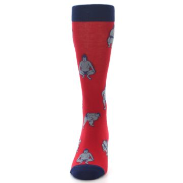Image of Red Grey Sumo Wrestler Men's Dress Socks (front-05)