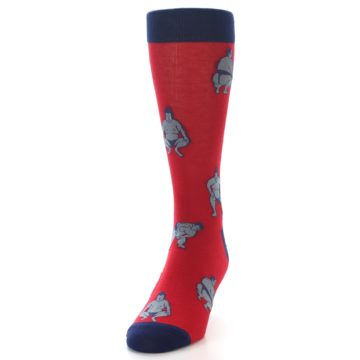 Image of Red Grey Sumo Wrestler Men's Dress Socks (side-2-front-06)