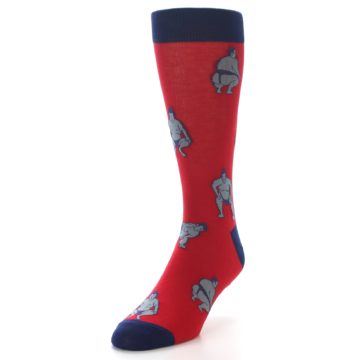 Image of Red Grey Sumo Wrestler Men's Dress Socks (side-2-front-07)