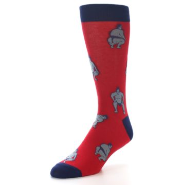 Image of Red Grey Sumo Wrestler Men's Dress Socks (side-2-front-08)