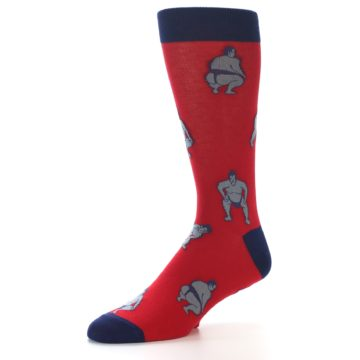Image of Red Grey Sumo Wrestler Men's Dress Socks (side-2-09)