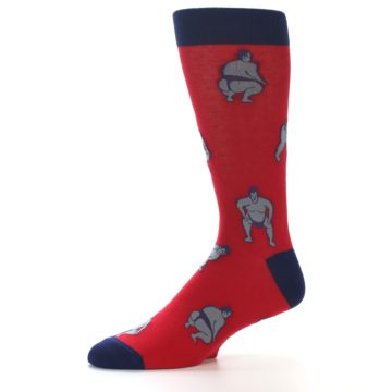 Image of Red Grey Sumo Wrestler Men's Dress Socks (side-2-10)