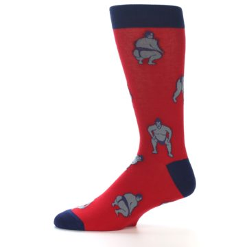 Image of Red Grey Sumo Wrestler Men's Dress Socks (side-2-11)