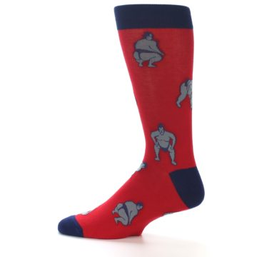 Image of Red Grey Sumo Wrestler Men's Dress Socks (side-2-12)