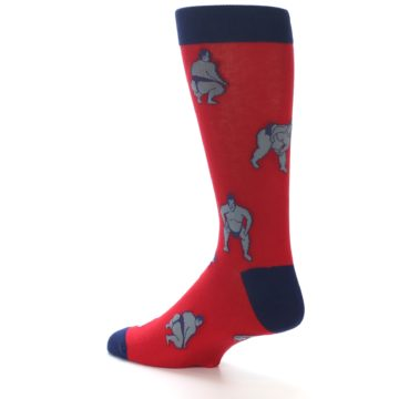 Image of Red Grey Sumo Wrestler Men's Dress Socks (side-2-back-14)