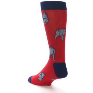 Image of Red Grey Sumo Wrestler Men's Dress Socks (side-2-back-15)