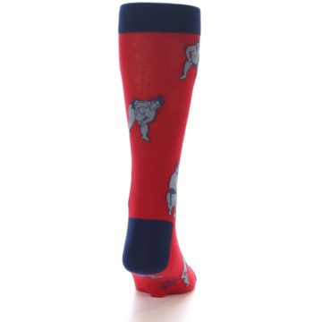 Image of Red Grey Sumo Wrestler Men's Dress Socks (back-19)