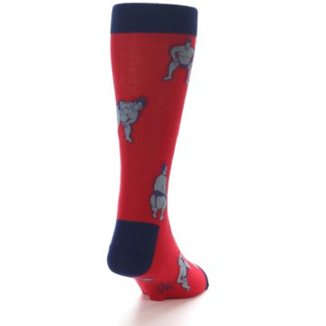 Image of Red Grey Sumo Wrestler Men's Dress Socks (side-1-back-20)