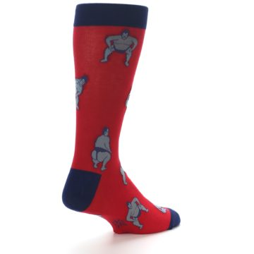 Image of Red Grey Sumo Wrestler Men's Dress Socks (side-1-back-22)