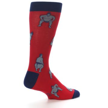 Image of Red Grey Sumo Wrestler Men's Dress Socks (side-1-23)