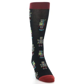 Image of Black Grey Red Robot Men's Dress Socks (side-1-front-03)