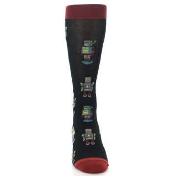 Image of Black Grey Red Robot Men's Dress Socks (front-04)