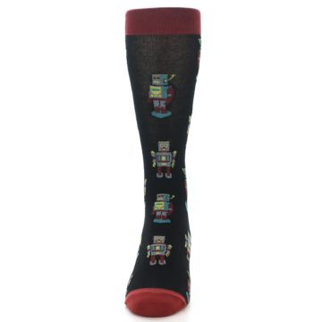 Image of Black Grey Red Robot Men's Dress Socks (front-05)
