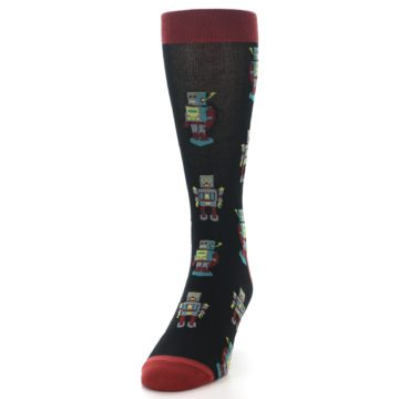 Image of Black Grey Red Robot Men's Dress Socks (side-2-front-06)