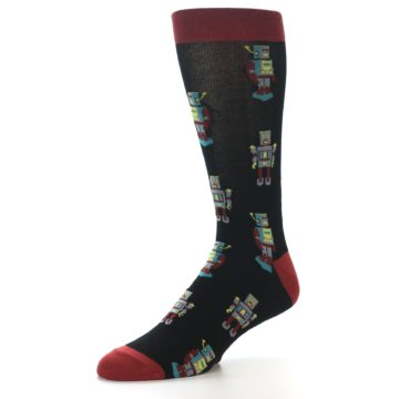 Image of Black Grey Red Robot Men's Dress Socks (side-2-09)