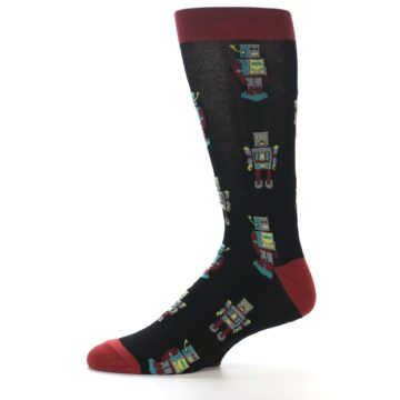 Image of Black Grey Red Robot Men's Dress Socks (side-2-11)