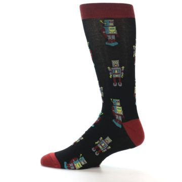 Image of Black Grey Red Robot Men's Dress Socks (side-2-12)
