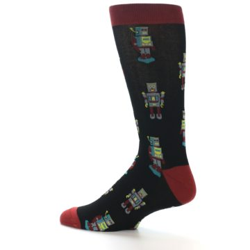 Image of Black Grey Red Robot Men's Dress Socks (side-2-13)