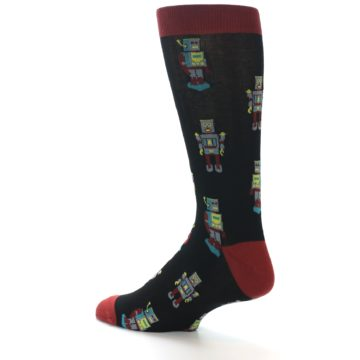 Image of Black Grey Red Robot Men's Dress Socks (side-2-back-14)